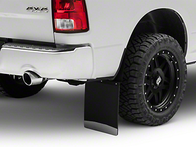 Husky 14 in. Wide KickBack Mud Flaps - Textured Black Top & Stainless Steel Weight (04-18 RAM 1500)