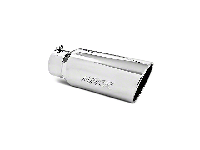 MBRP 5 in. Angled Rolled Edge Exhaust Tip - Polished Stainless - 4 in. Connection (02-19 RAM 1500)