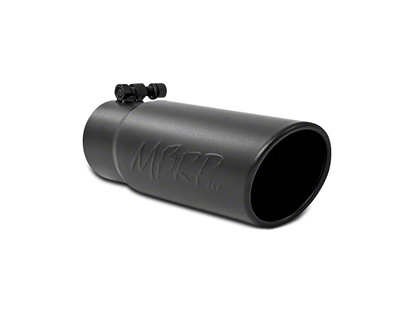 MBRP 3.5 in. Angled Rolled Edge Exhaust Tip - Black Coated - 3 in. Connection (02-19 RAM 1500)