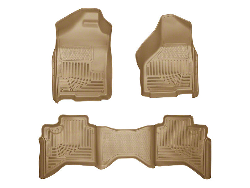 Husky WeatherBeater Front & 2nd Seat Floor Liners - Tan (02-08 RAM 1500 Quad Cab)