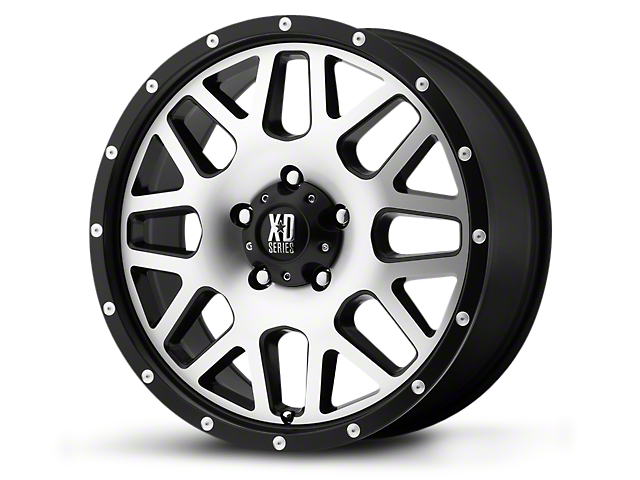 XD Grenade Satin Black Machined 5-Lug Wheel - 18x9; -12mm Offset (02-18 RAM 1500, Excluding Mega Cab)