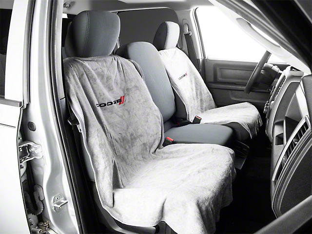 Seat Protector with Dodge Logo; Gray (02-21 RAM 1500)