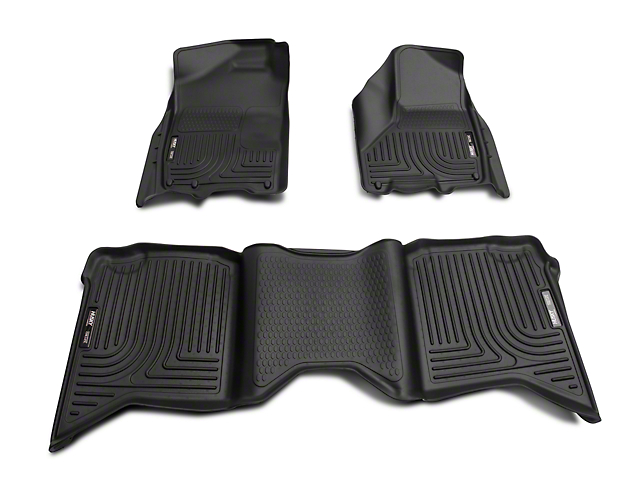 Husky WeatherBeater Front and Second Seat Floor Liners; Black (09-18 RAM 1500 Quad Cab, Crew Cab)
