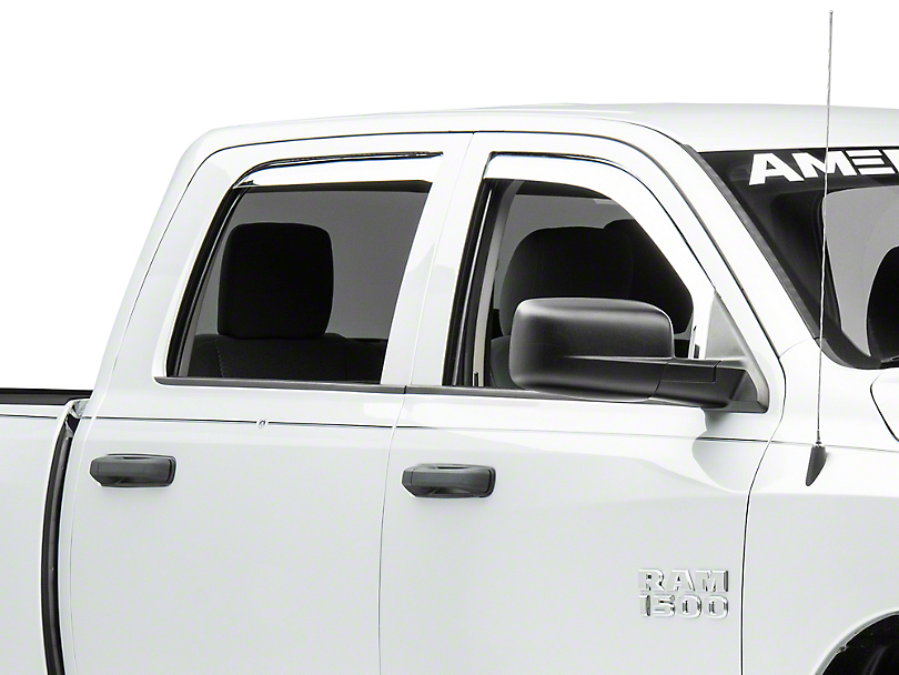 Putco Element Chrome Window Visors - Channel Mount - Front & Rear (09-18 RAM 1500 Quad Cab, Crew Cab, Excluding Rebel)