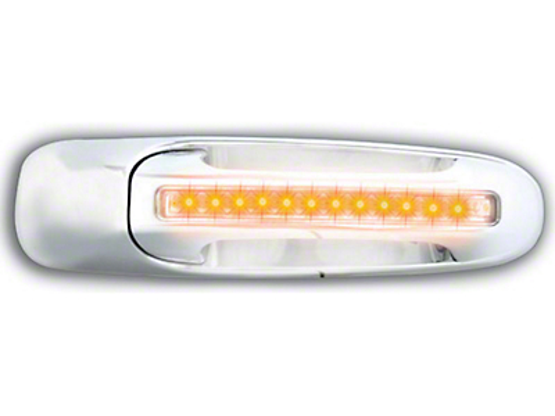 Axial Rear Chrome Door Handles w/ Amber LED & Clear Lens (02-06 RAM 1500 Quad Cab; 2006 RAM 1500 Mega Cab)