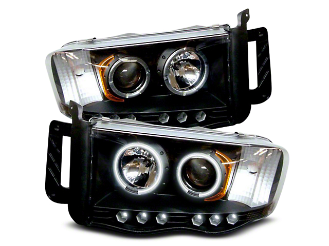 Axial Black Projector Headlights w/ CCFL Halos (02-05 RAM 1500)