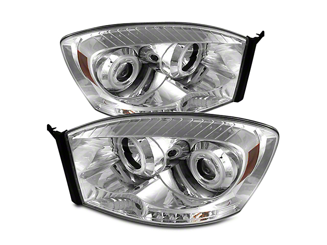 Axial Chrome Projector Headlights w/ CCFL Halos (06-08 RAM 1500)