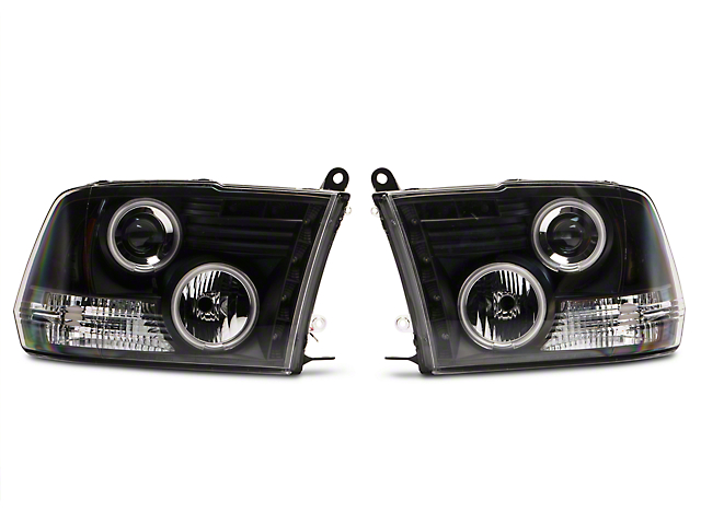 Black Projector Headlights w/ CCFL Halos (09-18 RAM 1500 w/o Projector Headlights)
