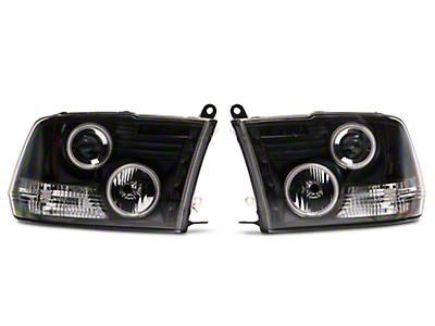 Axial Black Projector Headlights w/ CCFL Halos (09-18 RAM 1500 w/o Projector Headlights)