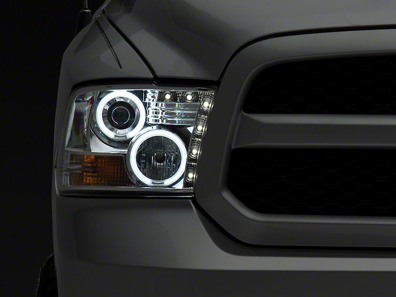 Axial Chrome Projector Headlights w/ CCFL Halos (09-18 RAM 1500 w/o Projector Headlights)