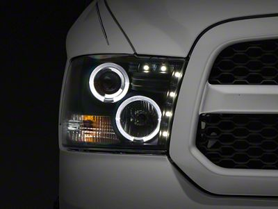 Axial Black Projector Headlights w/ LED Halos (09-18 RAM 1500 w/o Projector Headlights)