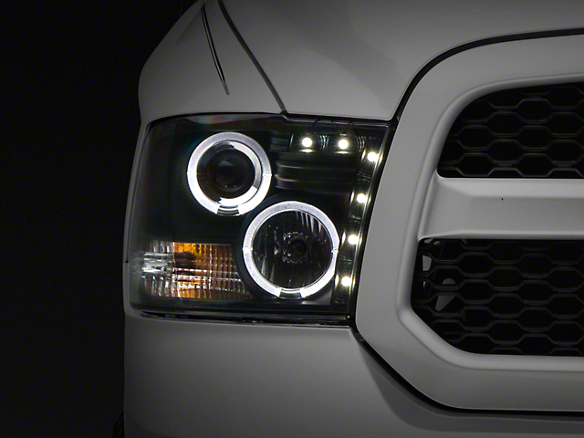 Black Projector Headlights w/ LED Halos (09-18 RAM 1500 w/o Projector Headlights)
