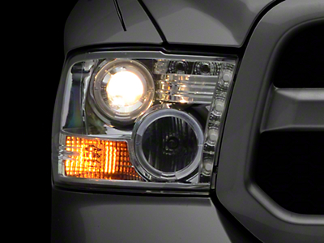 Axial Chrome Projector Headlights w/ LED Halos (09-18 RAM 1500 w/o Projector Headlights)