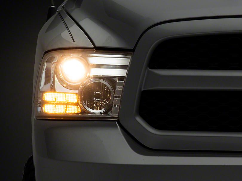 Axial Chrome Projector Headlights w/ Light Bar Daytime Running Lights (09-18 RAM 1500)