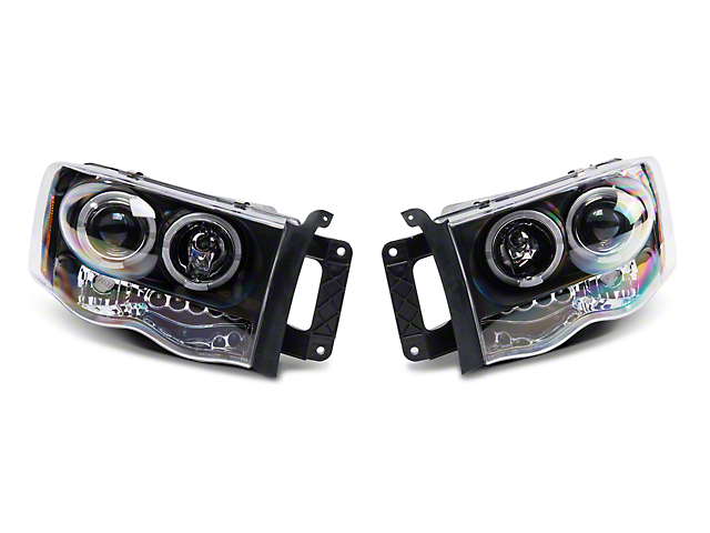 Axial Black Dual LED Halo Projector Headlights (02-05 RAM 1500)