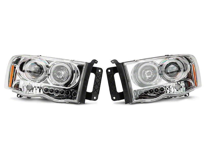 Axial Chrome Dual LED Halo Projector Headlights (02-05 RAM 1500)