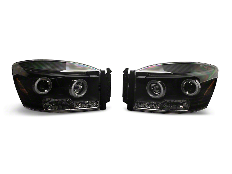 LED Halo Projector Headlights; Black (06-08 RAM 1500)