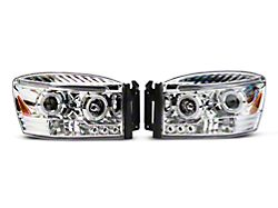 Dual Halo Projector Headlights; Chrome Housing; Clear Lens (06-08 RAM 1500)