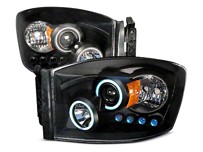 Axial Black CCFL Halo Projector Headlights w/ LED Accent Lights (06-08 RAM 1500)