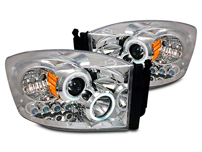 Axial Chrome CCFL Halo Projector Headlights w/ LED Accent Lights (06-08 RAM 1500)