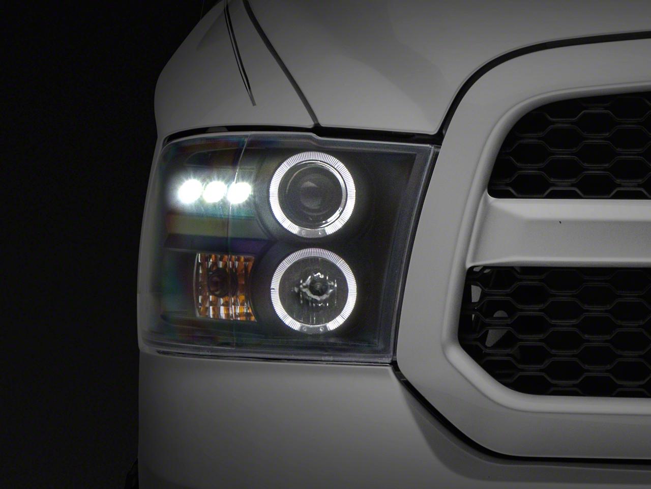 Axial Black Dual Halo Projector Headlights w/ LED Accent Lights (09-18 RAM 1500 w/o Projector Headlights)