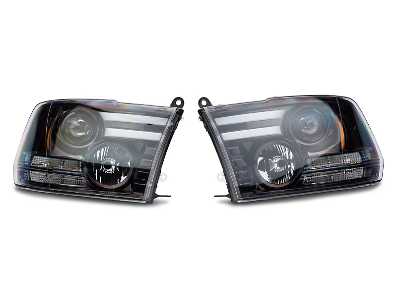 Recon Smoked / Black Projector Headlights w/ LED DRL & Amber LED Turn Signals (13-18 RAM 1500 w/ Projector Headlights)