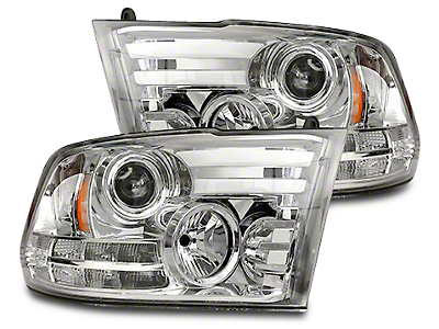 Recon Clear / Chrome Projector Headlights w/ LED DRL & Amber LED Turn Signals (13-18 RAM 1500 w/ Projector Headlights)