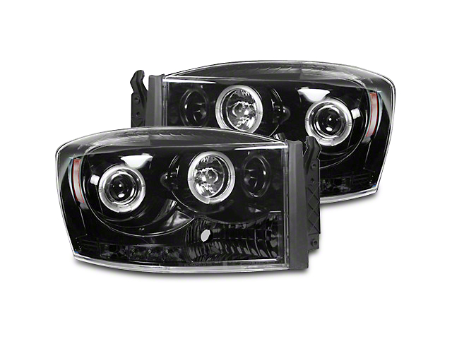 Recon Smoked / Black Projector Headlights w/ LED Halos & Daytime Running Lights (06-08 RAM 1500)