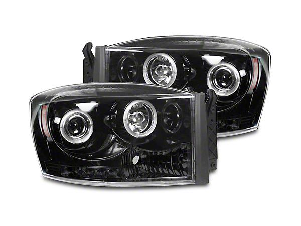 Recon Smoked / Black Projector Headlights w/ LED Halos & Daytime Running Lights (06-08 RAM 1500)