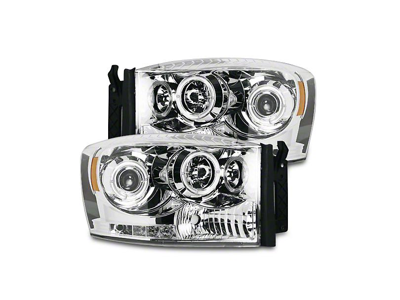 Clear / Chrome Projector Headlights w/ LED Halos & Daytime Running Lights (06-08 RAM 1500)