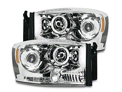 Recon Clear / Chrome Projector Headlights w/ LED Halos & Daytime Running Lights (06-08 RAM 1500)
