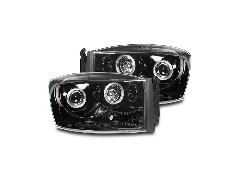 Smoked / Black Projector Headlights w/ CCFL Halos & Daytime Running Lights (06-08 RAM 1500)