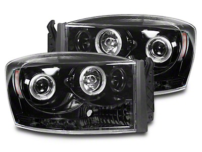 Recon Smoked / Black Projector Headlights w/ CCFL Halos & Daytime Running Lights (06-08 RAM 1500)