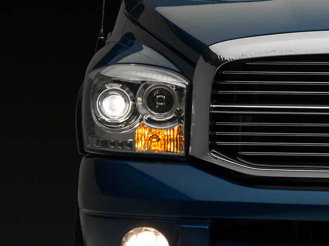 Recon Clear / Chrome Projector Headlights w/ CCFL Halos & Daytime Running Lights (06-08 RAM 1500)