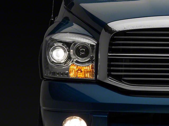 Clear / Chrome Projector Headlights w/ CCFL Halos & Daytime Running Lights (06-08 RAM 1500)