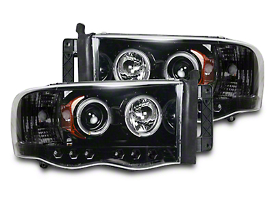 Recon Smoked / Black Projector Headlights w/ LED Halos & Daytime Running Lights (02-05 RAM 1500)