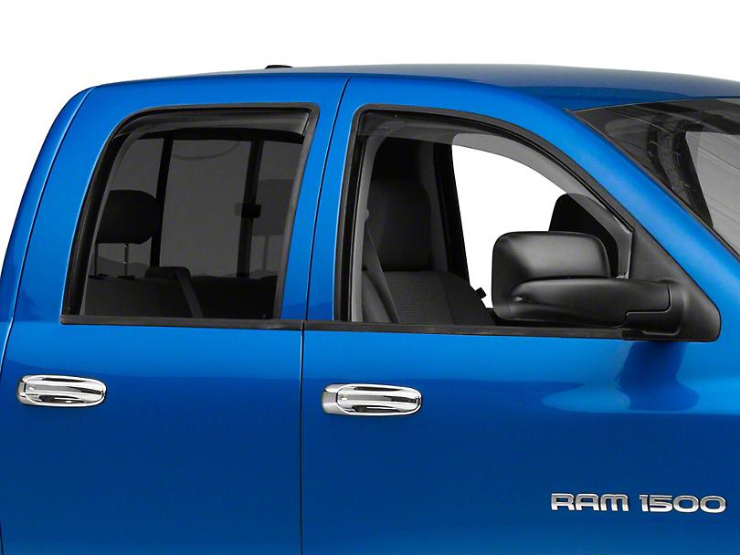 Weathertech Front & Rear Side Window Deflectors - Light Smoke (02-08 RAM 1500 Quad Cab, Mega Cab)