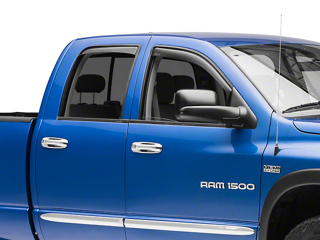 Weathertech Front & Rear Side Window Deflectors - Dark Smoke (02-08 RAM 1500 Quad Cab, Mega Cab)