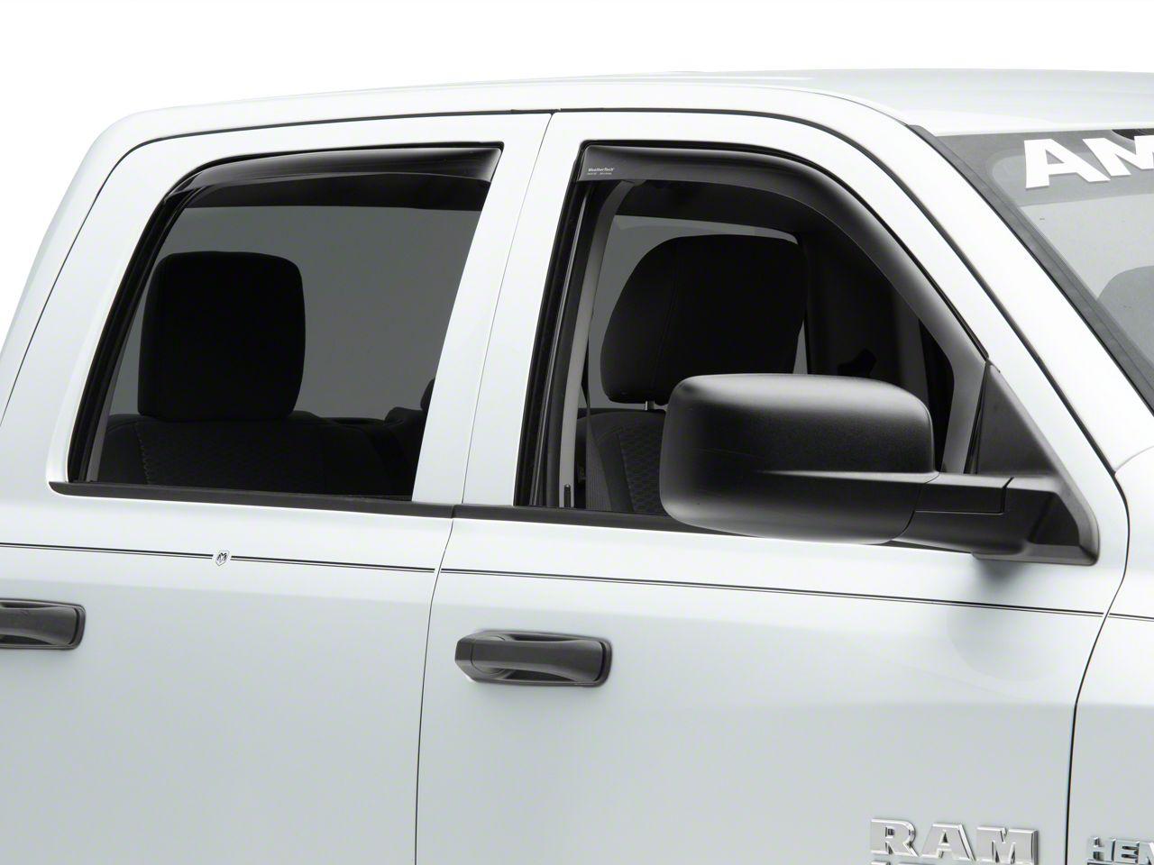Weathertech Front & Rear Side Window Deflectors - Dark Smoke (09-18 Crew Cab)