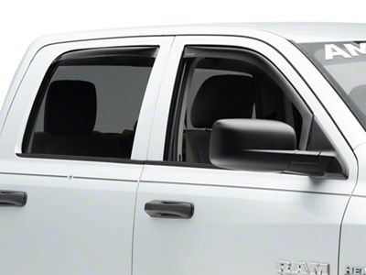 Weathertech Front & Rear Side Window Deflectors - Dark Smoke (09-18 Quad Cab)