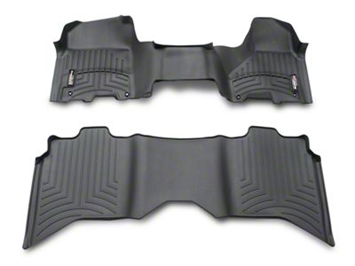 Weathertech DigitalFit Front Over the Hump & Rear Floor Liners - Black (2012 Crew Cab w/ Driver & Passenger Side Floor Hooks; 13-18 Crew Cab)