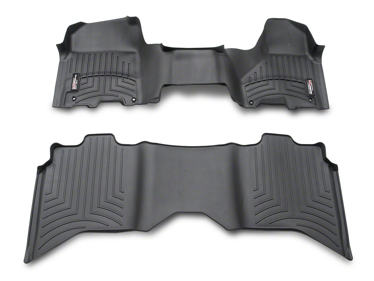 Weathertech DigitalFit Front & Rear Floor Liners - Over The Hump - Black (09-18 RAM 1500 Crew Cab; 12-18 Regular Cab, Quad Cab)