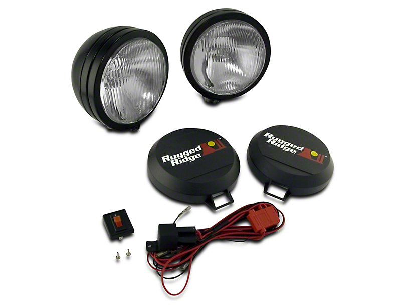 Rugged Ridge 5 in. Round HID Off-Road Fog Lights w/ Black Steel Housings - Pair