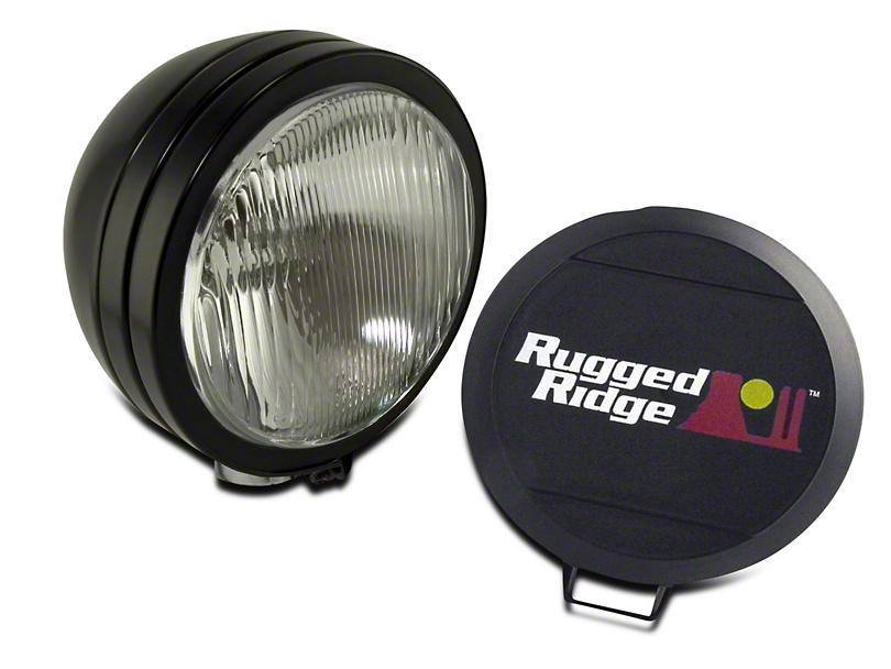 Rugged Ridge 5 in. Round HID Off-Road Fog Light w/ Black Steel Housing - Single