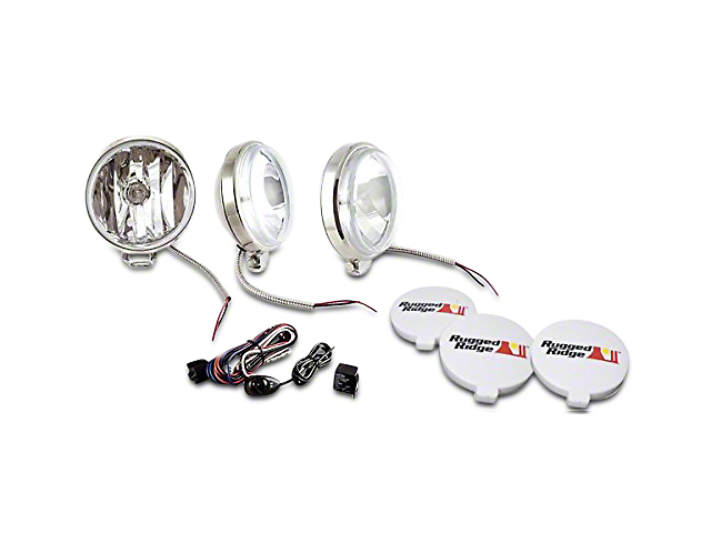 Rugged Ridge 6 in. Slim Halogen Fog Lights - Stainless Steel - Set of Three
