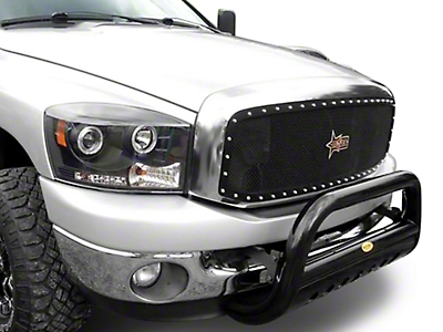 N-Fab Wire Mesh Upper Grille w/ Chrome Studs - Textured Matte Black (06-08 RAM 1500)
