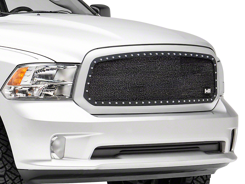 N-Fab Wire Mesh Upper Grille w/ Chrome Studs - Textured Matte Black (13-18 RAM 1500, Excluding Rebel)