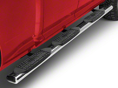 Raptor Series 5 in. Oval Wheel to Wheel Side Step Bars - Polished Stainless (09-18 RAM 1500 Quad Cab, Crew Cab)