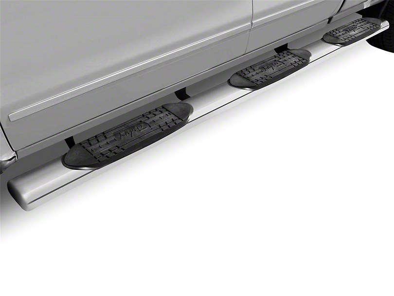 Raptor Series 6 in. Oval Wheel to Wheel Side Step Bars - Polished Stainless (09-18 RAM 1500 Quad Cab, Crew Cab w/ 6.4 ft. Box)