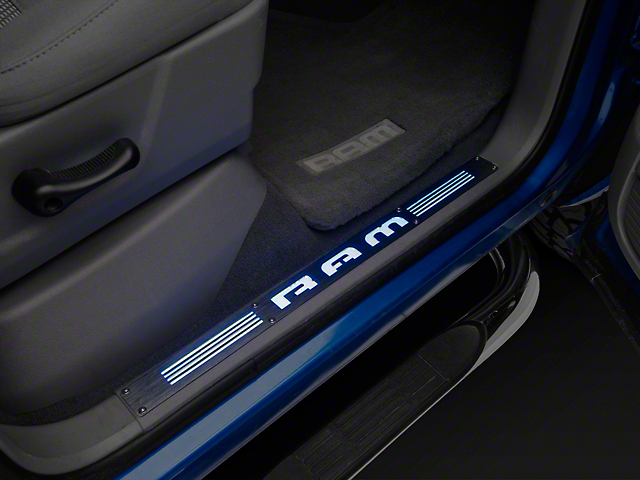 Recon Billet Aluminum Illuminated Door Sills - Front Doors - Black Anodized Finish (02-13 RAM 1500)